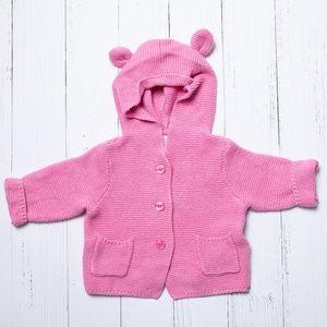 Baby Gap Pink Hooded Bear Knit Sweater